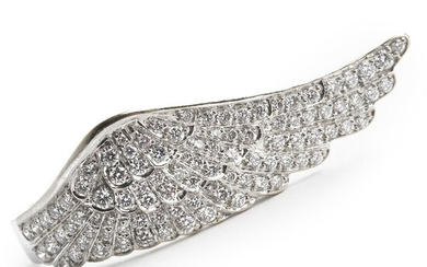 """Garrard: A diamond ring """"Wing"""" set with numerous brilliant-cut diamonds weighing a total of app. 1.28 ct., mounted in 18k white gold. G/VVS-VS. Size 54."""