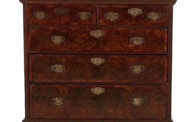 George III burl walnut chest of drawers