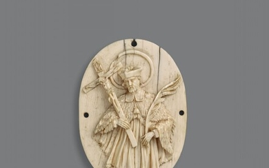 German early 18th century - An early 18th century German carved ivory figure of Saint John of Nepomuk