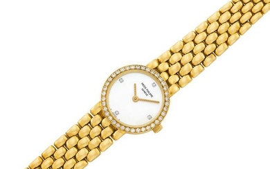 Gold, Mother-of-Pearl and Diamond Wristwatch, Patek Philippe