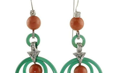 Green Agate, Red Coral Beads, Diamonds, 14K White Gold