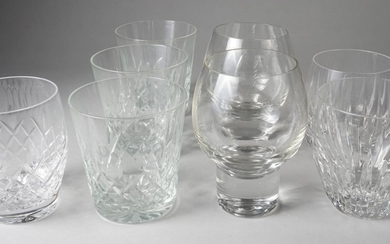 Group of Thirty-four Assorted Cut Glass Bar Glasses, Baccarat, Waterford, Stuart, and Others ATR2