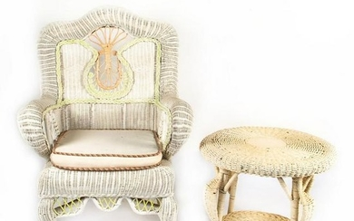 HAND CRAFTED WICKER THROWN CHAIR AND SIDE TABLE