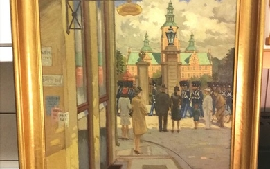Heinrich Nielsen: The Royal Guard marching in front of Rosenborg Castle in Copenhagen. Signed Heinrich Nielsen. Oil on canvas. 60×70 cm.