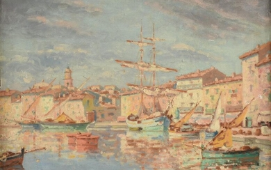 """ITALIAN SCHOOL, A PAINTING, """"Boats in Canal,"""" LATE"""