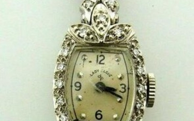 LADY ELGIN STERLING SILVER 14K WHITE GOLD DIAMOND WATCH