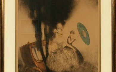"LOUIS ICART ETCHING, 1948, ""THE COACH"""