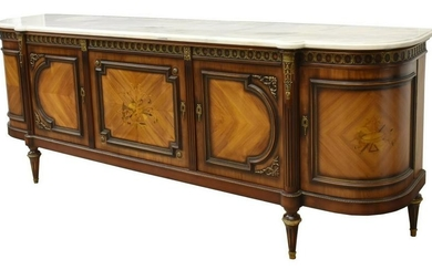 LOUIS XVI STYLE MARBLE TOP CURVED END SIDEBOARD