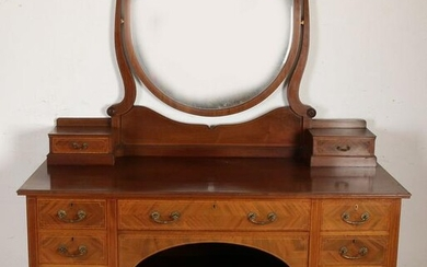 Large antique mahogany dressing table, with heart
