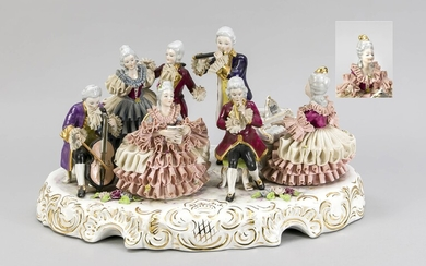 Large group of musicians in Rococo style, Kronach, Upper Franconia, 20th c., elegant lady on the spinet, accompanied by flute a. cello players, two ladies a. a cavalier singing, on oval rocaille base with sculptural flowers, tulle dresses, flute a...
