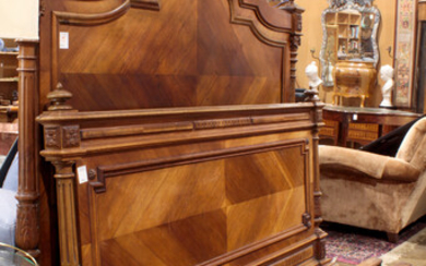 """Louis XV style kingwood bed, dimensions: 67""""h x 65""""w"""