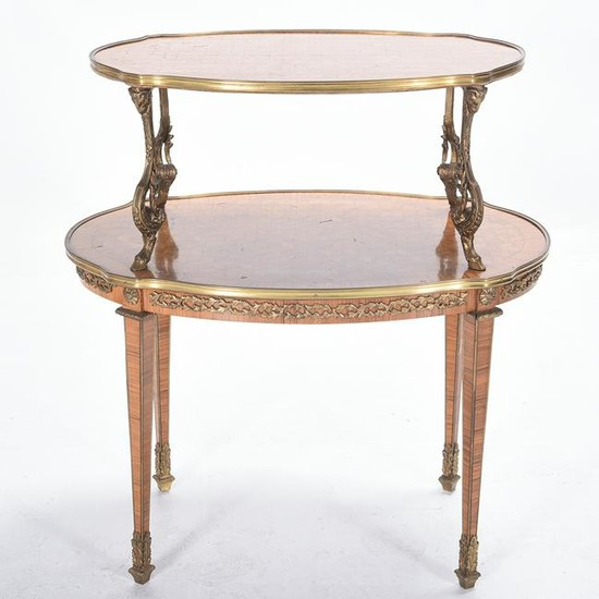 Louis XVI Style Ormolu Mounted and Inlaid Marquetry Two