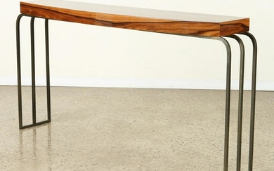 MODERN ROSEWOOD AND IRON CONSOLE TABLE