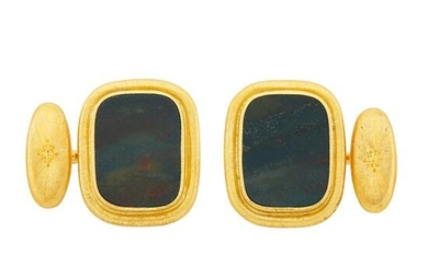Mario Buccellati Pair of Gold and Bloodstone Cufflinks