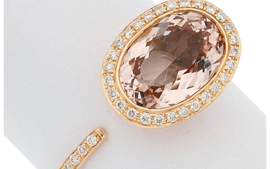 Morganite, Diamond, Rose Gold Ring The ring centers an...