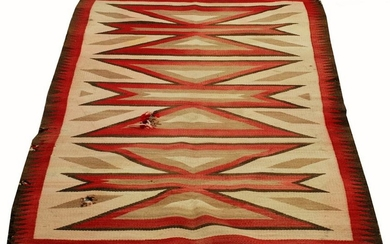 NAVAJO, HAND WOVEN RUG, W 5', L 5' 7 1/2""