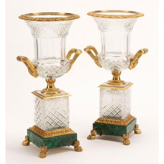 Neoclassical Style Cut Crystal Urns With Bronze Mounts