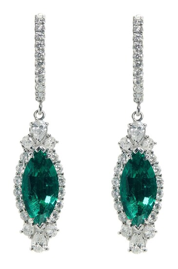 PAIR OF 18CT WHITE GOLD, EMERALD AND DIAMOND PENDANT EARRINGS Accompanied by a C. Dunaigre Gemstone Report numbered CDC 1512076/1&2,...