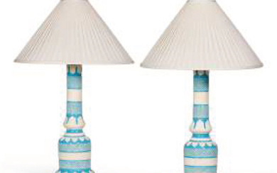■ƒ PAIR OF 19th CENTURY MIDDLE TABLE LAMPS In blue and white glazed earthenware, with stylized geometric decoration, cream pleated silk shade, electrically mounted; accidents and restorations H. without the electric mount: 44 cm. (17 ¼ in.) - (USD 589...
