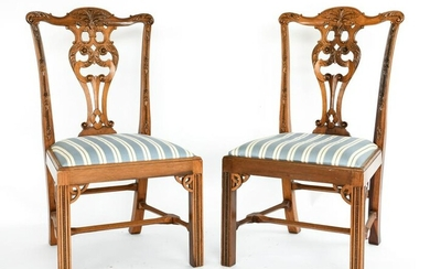 PAIR OF CARVED CHIPPENDALE STYLE CHAIRS