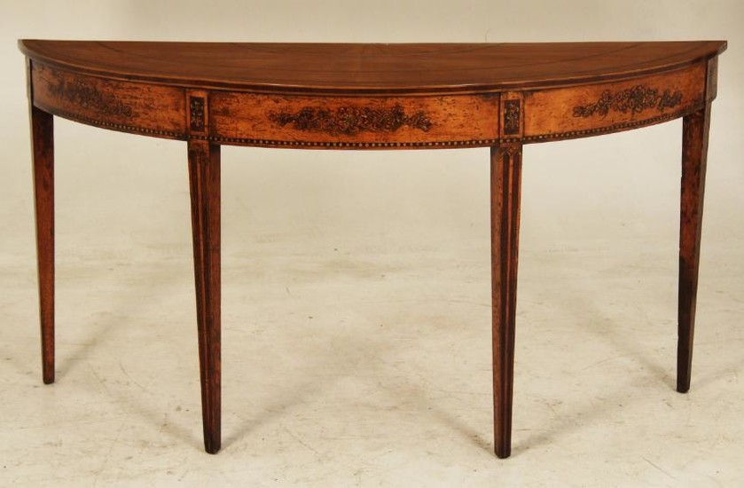 PERIOD SHERATON SATINWOOD DEMI-LUNE CONSOLE TABLE