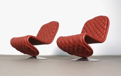 Pair of Verner Panton, lounge chair, model E from 1-2-3 series by Fritz Hansen