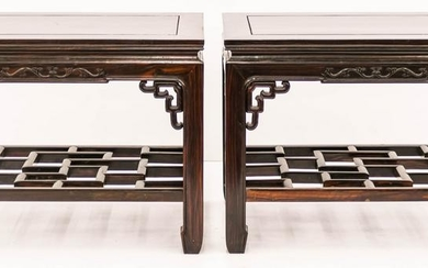 Pair Chinese Zitan Rosewood Carved Side Tables