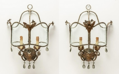 Pair of Baroque style metal and glass wall lights