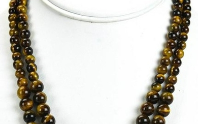 Pair of Carved Tiger's Eye Beaded Necklace Strands