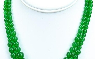 Pair of Graduated Green Nephrite Jade Necklaces