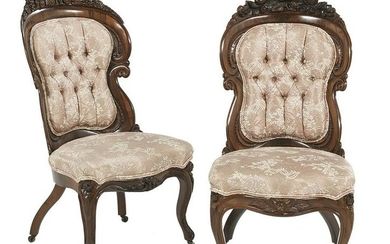 Pair of Rosewood Side Chairs,Attributed to Belter