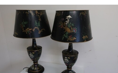 Pair of Toleware table lamps, the urn shaped bodies decorate...