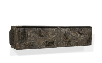 """Paul Evans (American, 1931-1987) An Exceptional """"Sculpted Bronze"""" Wall-Mounted..."""