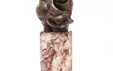 "Picasso Manner ""Cubist Head"" Wood on Marble Base"