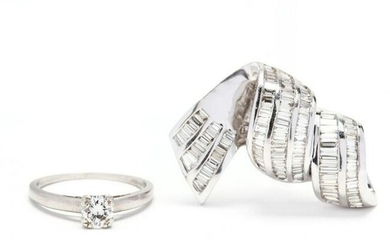 Platinum and Diamond Ring and a 14KT White Gold and