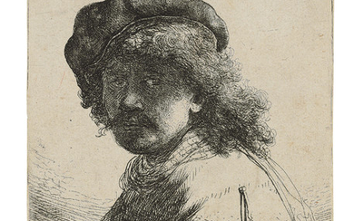 REMBRANDT HARMENSZ. VAN RIJN (1606-1669), Self-Portrait in a Cap and Scarf with the Face dark: Bust