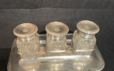 Regency Silverplate Three-part Footed Inkwell