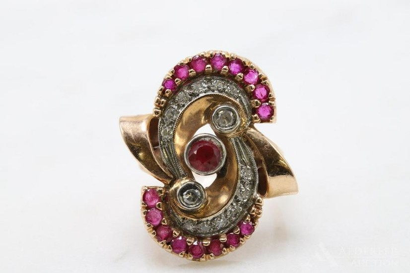 Retro 14K Rose Gold Ruby Diamond Deco Ring