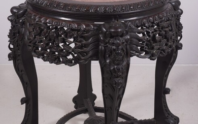 Round Carved Marble Top Asian Center Table