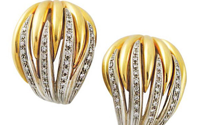 Rounded line earrings in yellow and white gold...