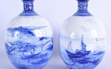 Royal Crown Derby pair of vases painted in blue with