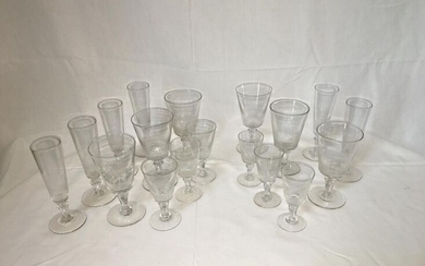 SERVICE in half-crystal, conical glass on pedestal, fluted cone base including