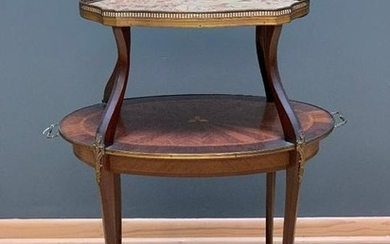 Louis XVth Style Marble Top Tiered Table, 19th/early