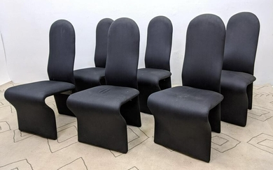 Set 6 Tall Back Dining Chairs. Fully Upholstered. Dust