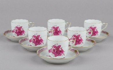 Set of Six Herend Chinese Bouquet Raspberry Coffee