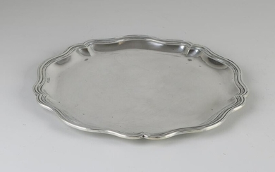Silver tableau, 800, round contoured model with ribbed