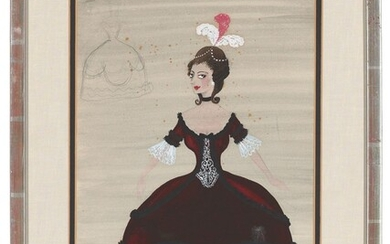 Sir Osbert Lancaster, CBE (1908-1986), Costume study for The Lady in Red in Love in a Village