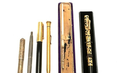 Six Gold Gold Filled and Sterling Silver Pens.