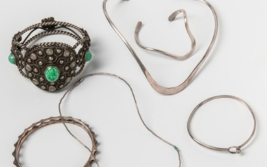 Six Pieces of Modern Silver Jewelry