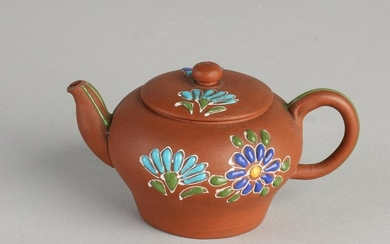 Small Chinese Yixing teapot with floral enamel